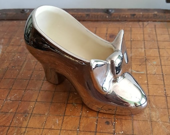 Vintage Chic Pottery Silver Shoe