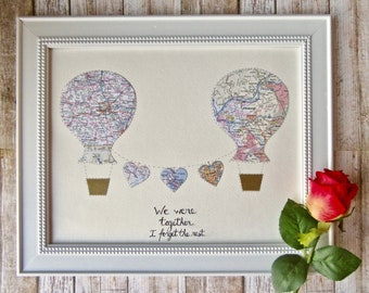 One Year Anniversary Map Gift - Hot Air Balloon Art - Personalized Map Art - 11x14 Large Size - Design #42
