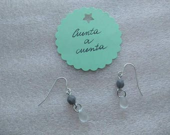Earrings, grey earrings, transparent earrings, stylish earrings, fashion earrings, original earrings, fashion woman