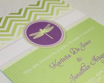 DRAGONFLY Printable Party Invitation - Green and Purple Printing Available