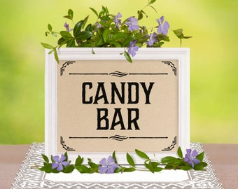 Candy bar sign. Printable rustic wedding decor. Wedding sweets table sign. Wedding shower decorations. Party Candy buffet sign. DIY prints
