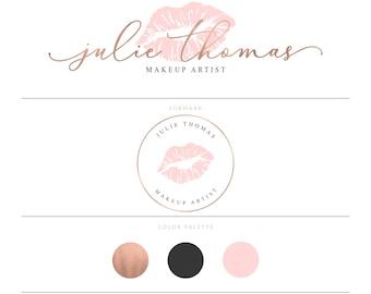 Rose Gold Lips Logo Design Rose Gold Lipsense Logo Makeup Logo Makeup Artist Logo Blush Pink Logo Lipstick Logo Lipgloss Logo Senegence Logo