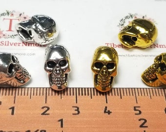5 pcs per pack 14x12x9mm top to the bottom drilled Regular Hole Beads Skull Antique Silver or Gold Lead free Pewter.