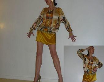 Dress painting, couture silk dress printed threadwork, OOAK