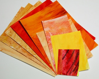 Abstract Painted Scrap Paper Pack - assorted weight papers for scrapbooking/card making/collage/journaling - orange