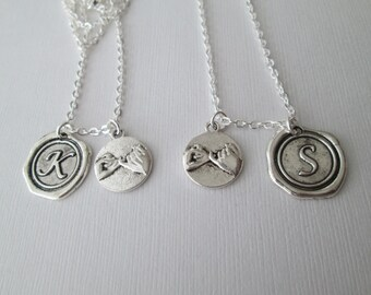2 Pinky Promise, Initial Script Best Friend Necklaces (Set)/ Best friend, sister necklace, Bridal Party Jewelry, Initial necklace