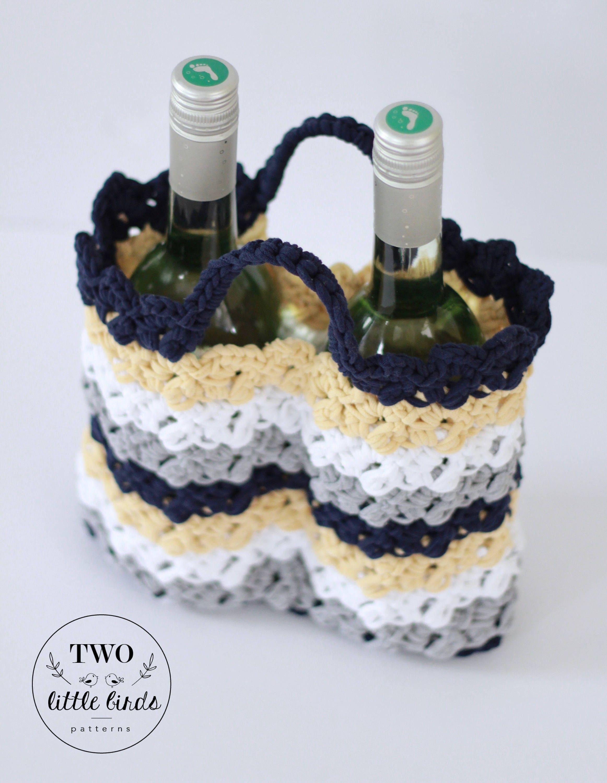 Crochet Pattern, crochet wine bag, crochet wine tote, wine carrier ...