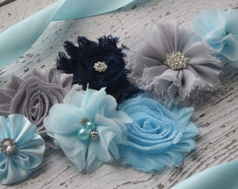 Flower Sash, light blue  grey dark navy Sash #2,, flower Belt, maternity sash