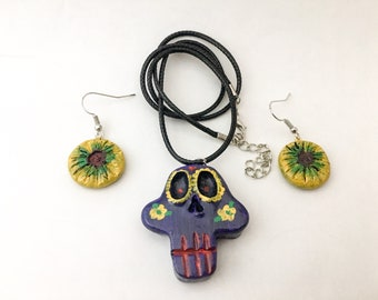 Sugar Skull Purple Necklace and Earrings Set // Clay Jewelry // Day of the Dead // Dia de los Muertos // Hand Painted // Floral // Folk Art