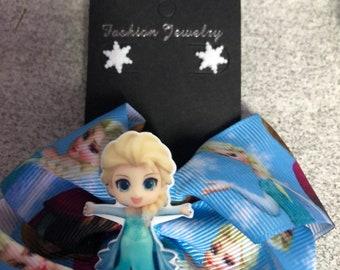 Disney Elsa Let It Go hair bow and stud snowflake earrings