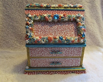 """Beautiful Jewelry Box, Vintage Artistically Altered, One of a kind """"Sweetness"""""""