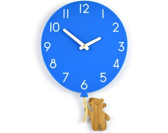 Teddy Bear & Blue Balloon - Blue Balloon Wall Clock - Children's Room Decor - Nursery Decor - Baby Shower Gift - Simple Wall Clock