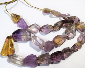 "16"" strand RARE Ametrine Faceted Nugget Gemstone Bead Tumble LASER CUT Irregular Semi precious stones Healing Crystals Jewelry Supplies"