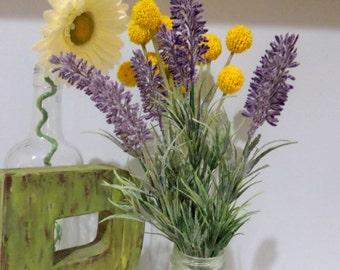 "13.5"" Silk Faux Lavender Bush Wired Spray~Lavender Fake Flower~Artificial Lavender Stem Spray~Sage~Dusty Green"