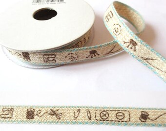1.8 m x Ribbon cotton fancy 10mm linen sewing/sky