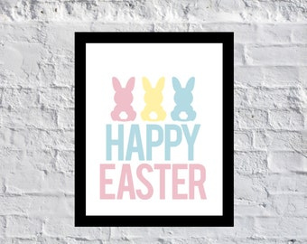 Happy Easter Bunny Tails Printable Instant Download Pastel