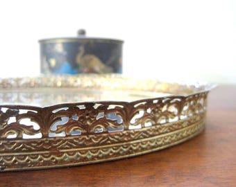 Vintage Mirror Tray, 13 inch, Gold Filigree Floral Design, Oval Vanity Tray, Dresser Mirror, Mad Men, Hollywood Regency, Mid Century