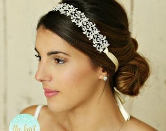Wedding Hair Accessory, Beaded Headband, Bridal Headband, Crystal Ribbon Headband, Rhinestone Bridal Headband, Jeweled Wedding Headband,