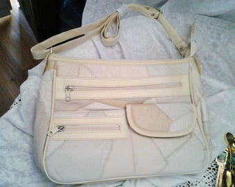 Vintage Leather Patchwork Cream Handbag