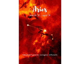 Aries Zodiac Poster Constellation Print - Zodiac Constellation Wall Art - Horoscope Wall Art – Astrology Poster Art - Printable Digital Art