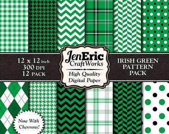 Irish Green Digital Paper Pack, Printable St Patricks Day Patterns, Digital Background, Instant Download, 12x12 12-Pack