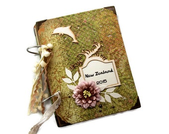 Travel Memory Book - Scrapbook Travel Diary - Wanderlust Photo Album - Adventure Photo Book - New Zealand Vacation Travel Log - Gift For Her