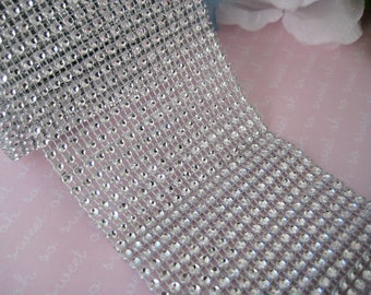 """3.5"""" Silver Diamond Mesh Wrap Ribbon for Wedding, Vases, Centerpieces, Cake Stands, Sweet 16, Quinceanera, 3.5"""" Ribbon Wide,  4.85 yards"""