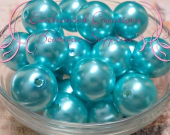20mm Turquoise Acrylic Pearl Beads Qty 10