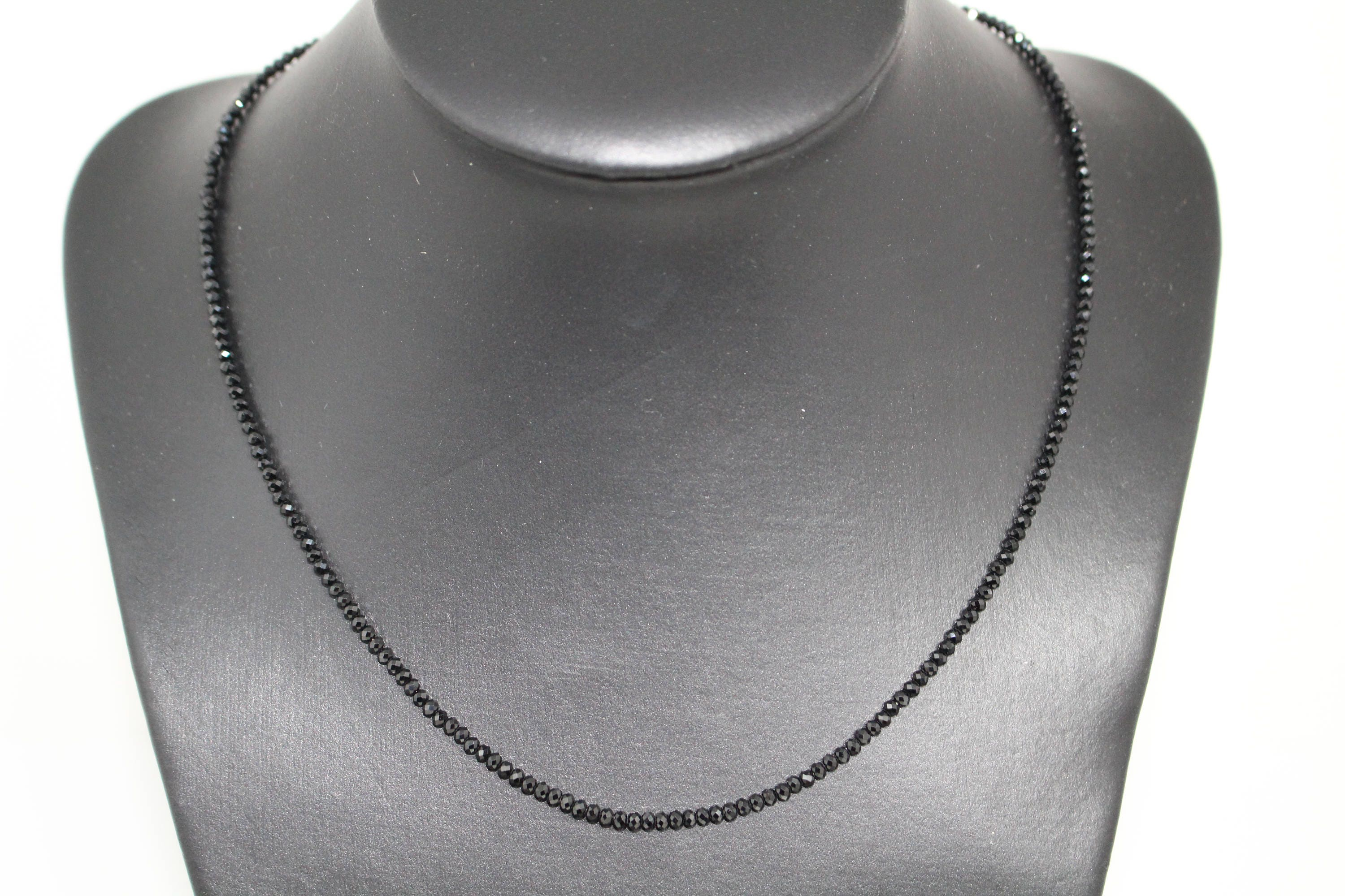 necklace fullxfull silver black listing heart il spinel natural dainty tiny stone