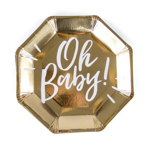 8pc Gold Foil Oh Baby Dinner Plate, Girl Gold Baby Shower Plate, Gender Neutral Baby Shower, Boy Gold Plate, White Gold, Champagne