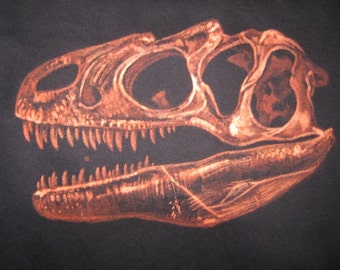 Allosaurus Skull TShirt - Custom Dinosaur Gift for Adults - Unique Made to Order Dino Fossil Design