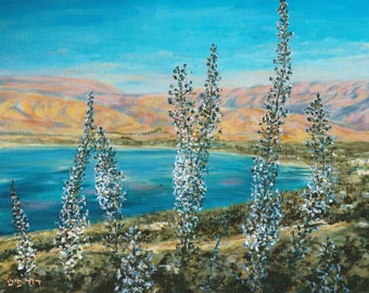 Lake Kinneret, Sea of Galilee and the Golan Heights lanscape.  painted by the artist David Fisch. print on canvas or high quality paper