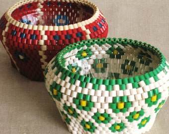 Vintage Beaded Glass Bowls, Small Dish, Handmade, Bead Work, Pair, Unusual, Serving, Floral, Entertaining, Desk Accessories