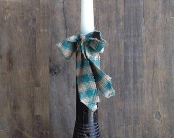 Vintage Wooden Textile Bobbin. Black bobbin w/white candle. Vintage Bobbin. Textile Bobbin. Vintage Decor. Vintage Candleholder.