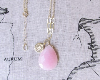 Gold pink B personalized necklace, personalized initial B pastel pink necklace gift, personalized gold large gradient pink jade B jewelry