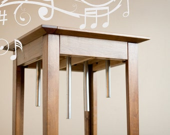 Musical End Table with chimes. Education toy for kids with zen chimes chakra chimes and pentatonic scales