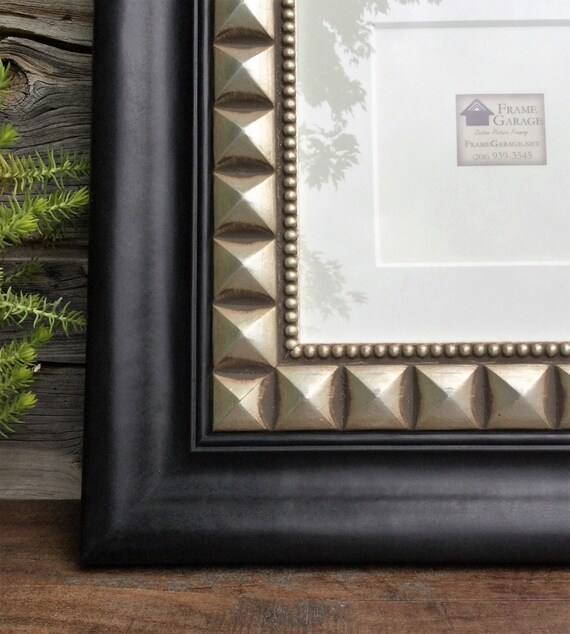 Black and Silver Square Frame with Mat 10 x 10 or 6 x 6 opening from ...