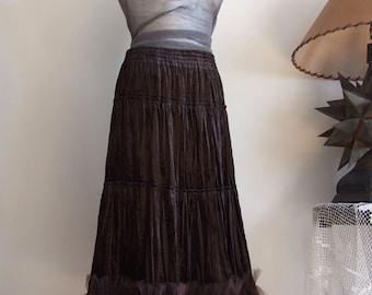 Velvet Ruffled Skirt, Skirt with Ruffles, Boho Skirt, Brown Skirt, Convertible Skirt, Holidays Skirt, Festival Skirt, Prairie Girl Skirt