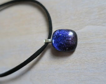 Purple/ red dichroic glass necklace