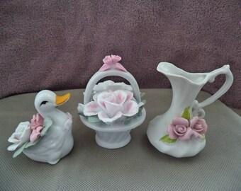 Duck figurine , Flower basket figurine , Flower vase ,Porcelain figurine set ,Set of three figurine ,Vintage duck figurine ,Vintage flower