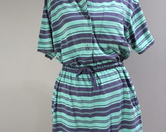 Vintage Laura Ashley Womens Size Medium Striped Shorts Romper Jumpsuit