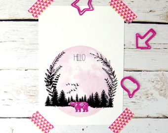 Bear Print Postcard, Cute Quote Postcards, Woodland Forest Stationary