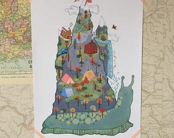 Mountain Snail Original Illustration Giclee Print A4