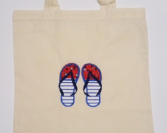 Market Bag - Rise and Shine Bag - Flip Flop Tote - 4th of July - Red white and blue - Summer Gift - Embroidered  Bag - Cuddles and Keepsakes