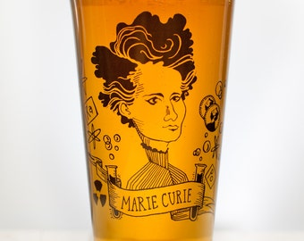 Marie Curie Beer Glass | Chemistry Pint Glass, Women in Science, Women in STEM, Teacher Gifts, Scientist, Physics Teacher Gift Birthday Gift