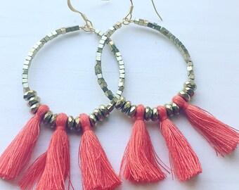 Coral orange/gold beaded tassel earrings