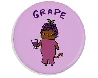Cute Pin Back Button Grape Cat Pinback Button Magnet Mirror Kawaii Pin Badge Wine Grape Juice Purple