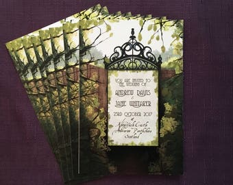 The Secret Garden Wedding Invitation | Rustic Invite | Outdoors Event | Single Sided A6