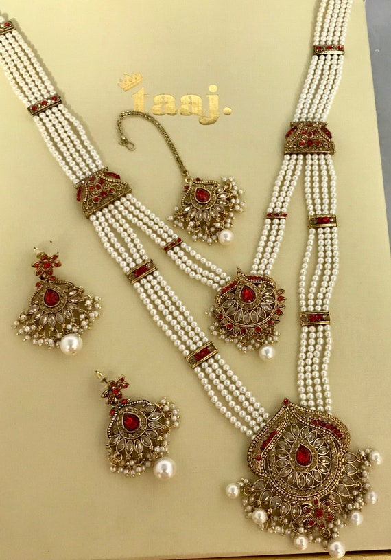 Konica Gold & red pearl long rani haar Mala Necklace Earrings and tikka Indian Bridal pakistani jewellery