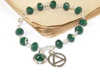 12 Step Recovery Bracelet, Swarovski Crystal Birthstone Charm, Unity Symbol for Sobriety